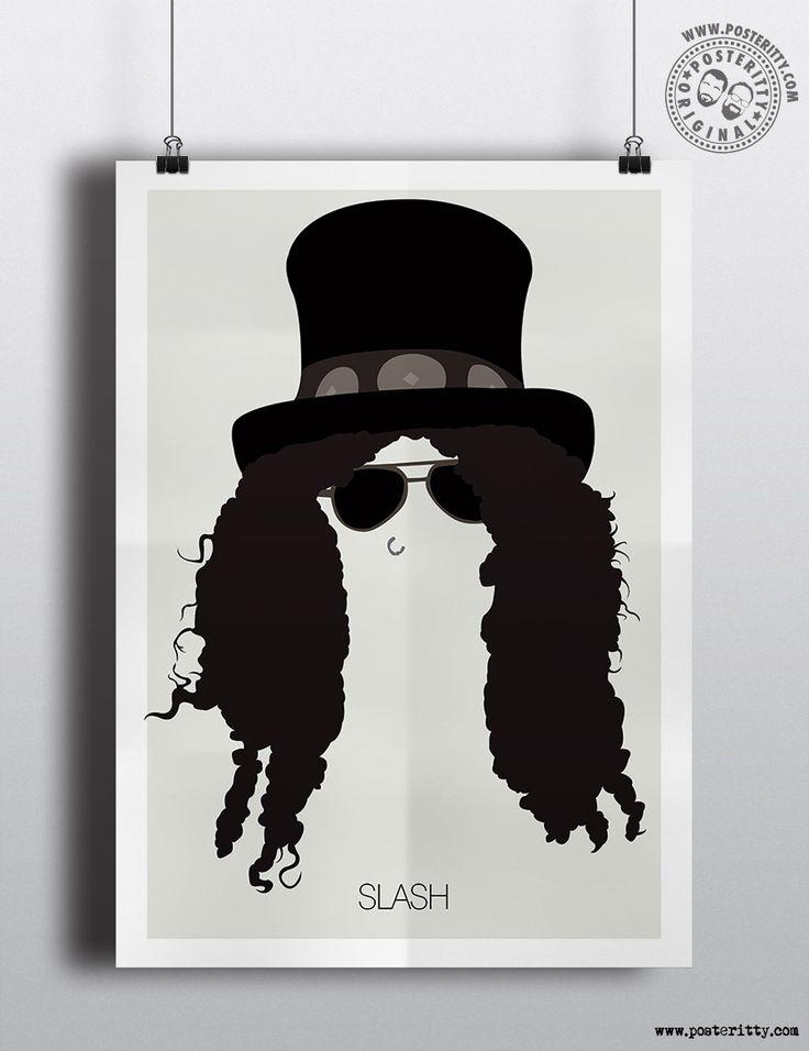 Slash (Guns N Roses) Minimalist Music Icons Poster by Posteritty #MinimalistHair…