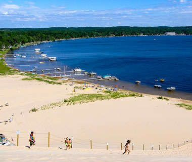 A beach staple of the Midwest, this strip along Lake Michigan—encompassing the towns of Hart, Mears, and Pentwater—has no shortage of massive sand dunes, beach buggies, and farmers' markets along with over-the-top July 4th fireworks.