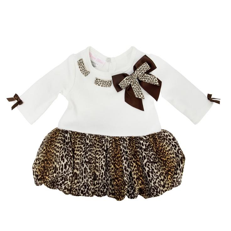 Bonnie Baby Infant Girl Leopard Print Bubble Dress