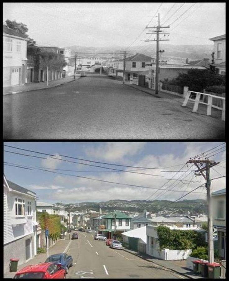 Hawker Street, Mount VICTORIA - 1960s + 2015 Old Wellington Region 19 Aug 2016