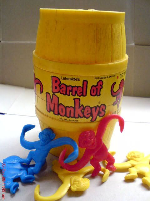 Barrel of Monkeys toy - stupid game, I never could get the hang of it!  :-)