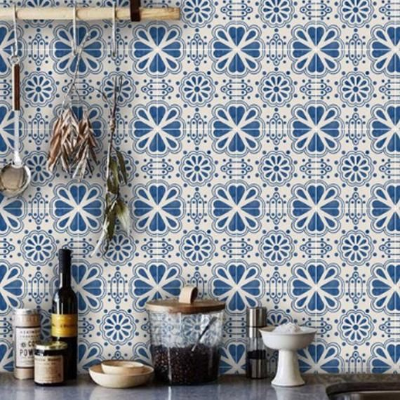 Mexican Domino Wallpaper In Indigo Blue Removable Vinyl