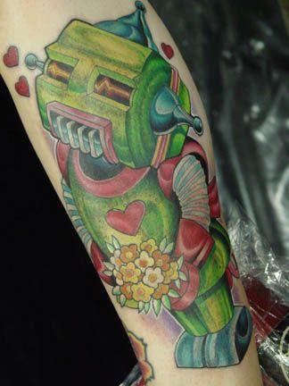 Green Robot in love tattoo