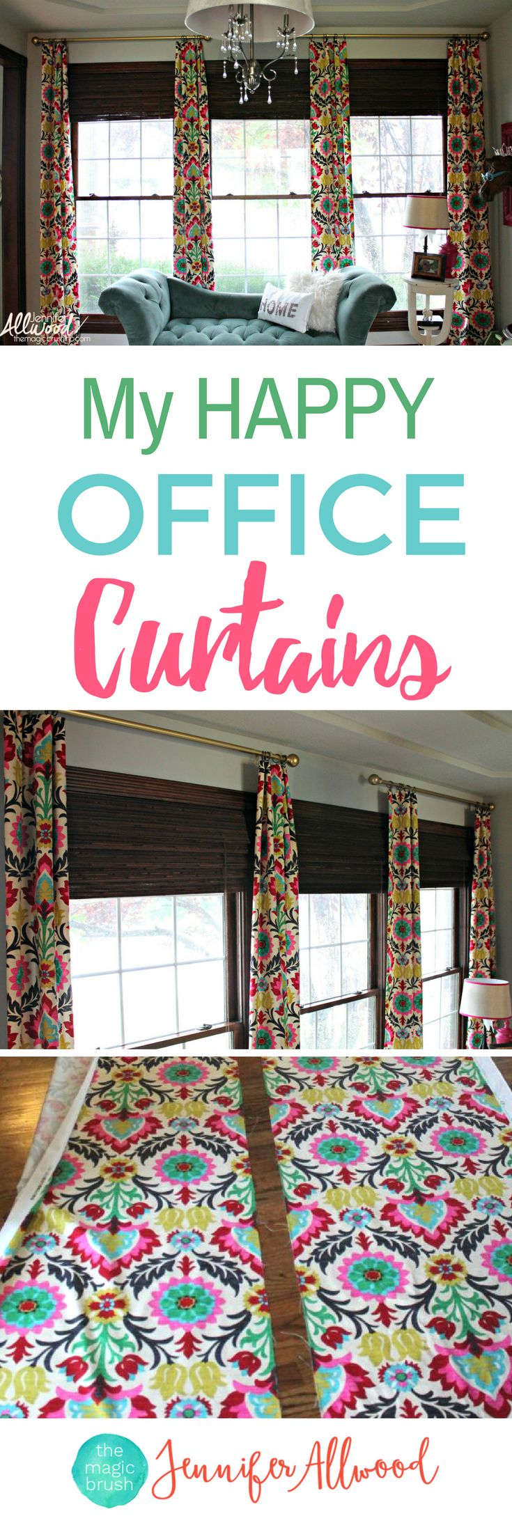 DIY No Sew Curtains | Happy Office Curtains with Waverly Santa Maria Desert Flower | How to make your own curtains | bright funky bold curtains | Decorating Advice by The Magic Brush