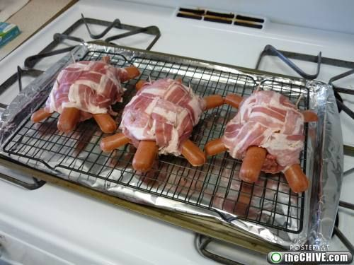 turtle-burger-cheeseburger wrapped in bacon with hotdogs inserted to look like a turtle--silly