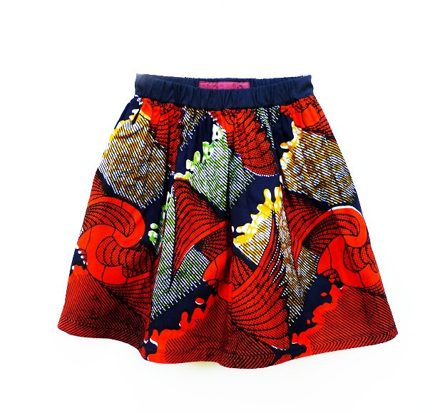 African Print Skirt, Orange print, 2-6 Year Old Girl. $32.00, via Etsy.