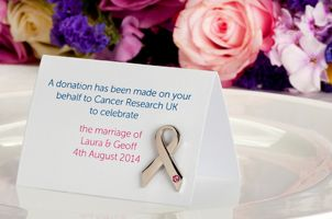 A really nice alternative to wedding favours - charity donations on behalf of your guests.  Cancer Research UK leading the charge, may need to see what other charities do this...