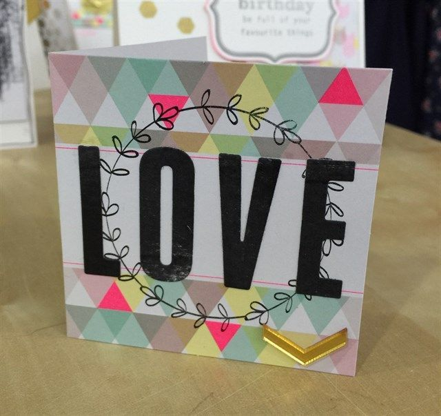 Handmade 'Love' card | Made using the Papermania Capsule Geometric Neon collection