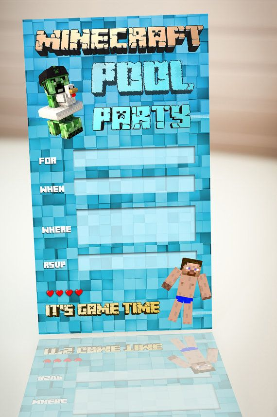 146 best Minecraft Party images on Pinterest Parties decorations - mine craft invitation template