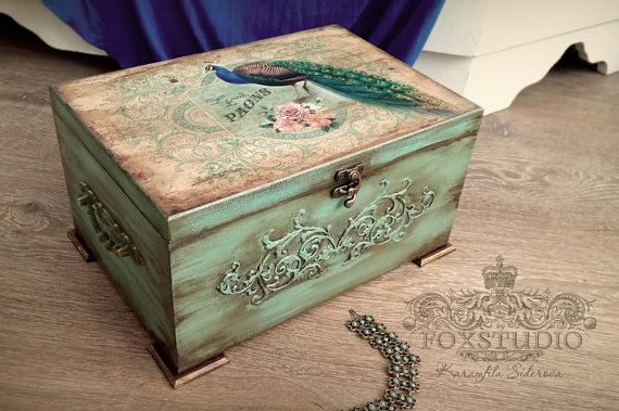 Peacock Large Box. Peacock Vintage Wedding Box. Peacock Jewelry Box. Green Vintage Chest. Parchment Background. Vintage Roses Storage