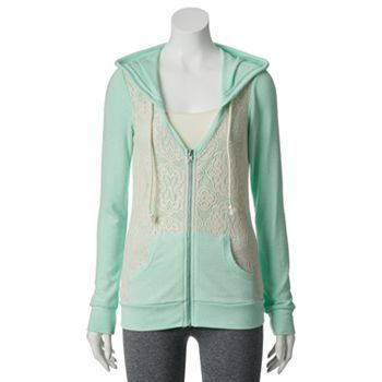 Miss Chievous Zip-Up Crochet Juniors' Hoodie @ Kohl's