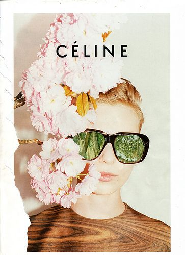 fashion advertisment: woman with flower hat and wood dress and sunglasses with forest reflection | Céline |