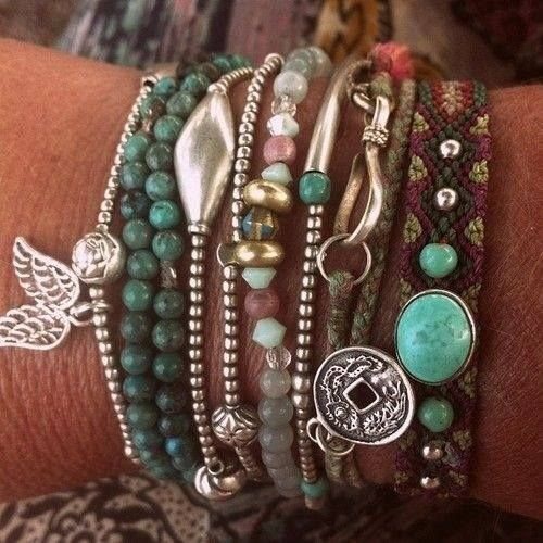 Bohemian style variety of bracelets & necklaces.