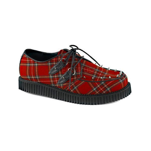 Men's Demonia Creeper 603 Plaid Creeper ($55) ❤ liked on Polyvore featuring men's fashion, men's shoes, men's sneakers, casual, lace up shoes, red, mens sneakers, mens platform sneakers, mens spiked shoes and mens creeper shoes