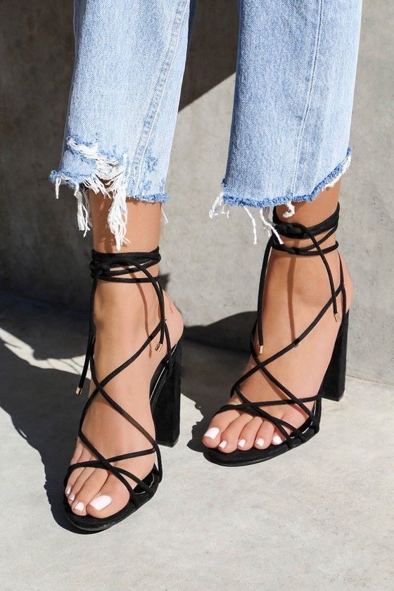 4f11554b97a0 Slip on the NeNe Black Suede Lace-Up Heels and let s go! Buttery vegan suede  forms a strappy