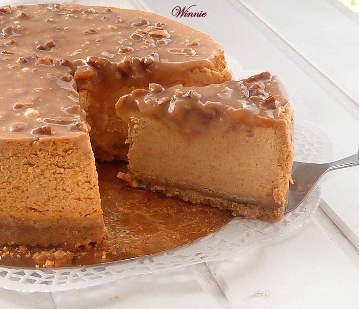 Shared at Thank Goodness It's Thursday on Ruffles and Rain Boots:  Pumpkin Cheesecake with Caramel Pecan Glaze