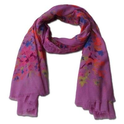 Pink Cotton Scarf  - Buy Now @ http://www.pashmeen.com/screen-prints/27-floral-print-cotton-scarf-pink.html