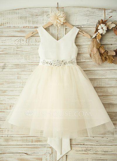 [AU$ 95.00] A-Line/Princess Knee-length Flower Girl Dress - Satin/Tulle Sleeveless V-neck With Bow(s)/Rhinestone (010104941)
