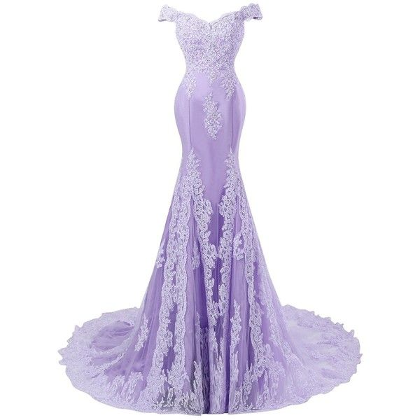 Himoda Women's V Neckline Beaded Evening Gowns Mermaid Lace Prom... ($89) ❤ liked on Polyvore featuring dresses, gowns, long white dress, homecoming dresses, long homecoming dresses, long white gown and long lace gown