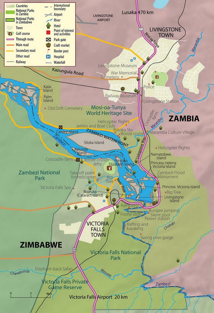Zambia and Zimbabwe. Victoria Falls Map