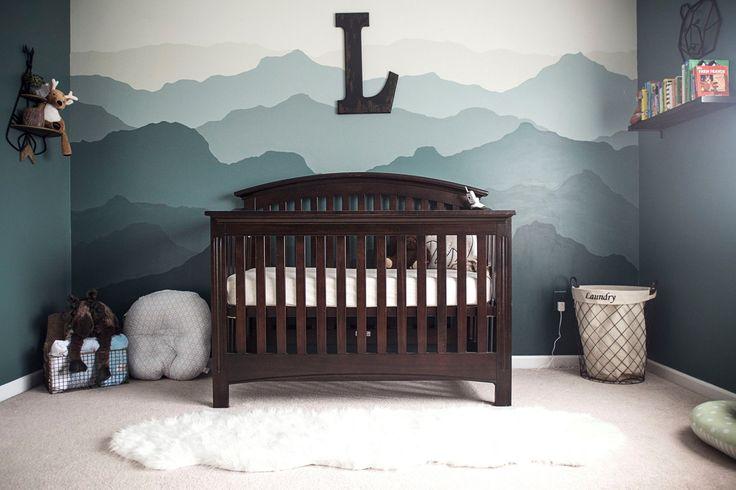 Mountain themed woodland nursery for baby boy!  #nursery #babyboy #mountain #mural