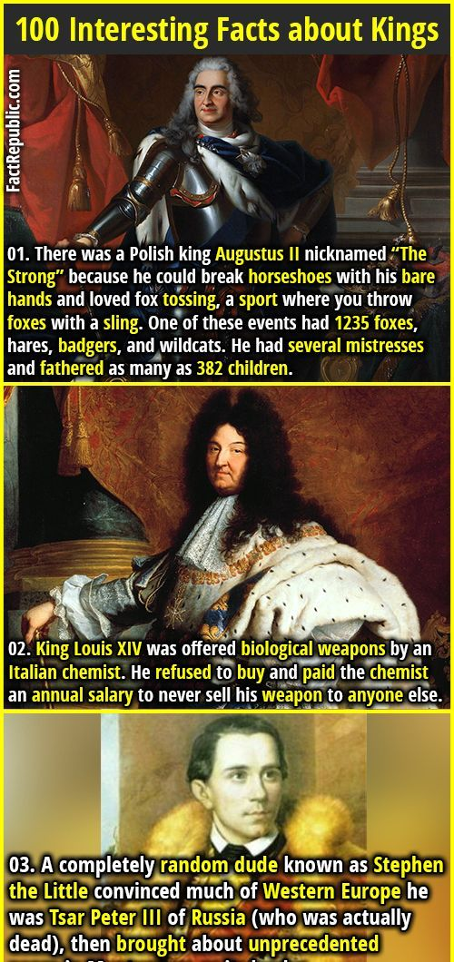 100 Interesting Facts About Kings History Pinterest Fun Facts