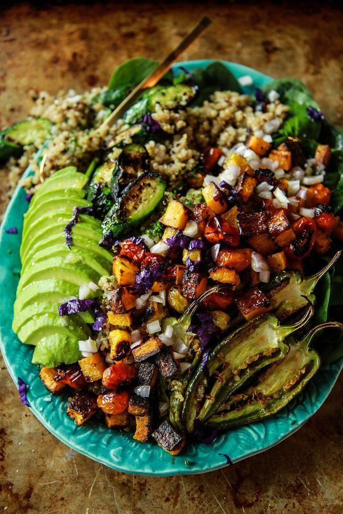 Spicy Vegan Roasted Vegetable Quinoa Salad from HeatherChristo.com