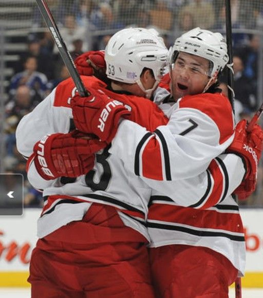 Ryan Murphy celebrates his first NHL goal.
