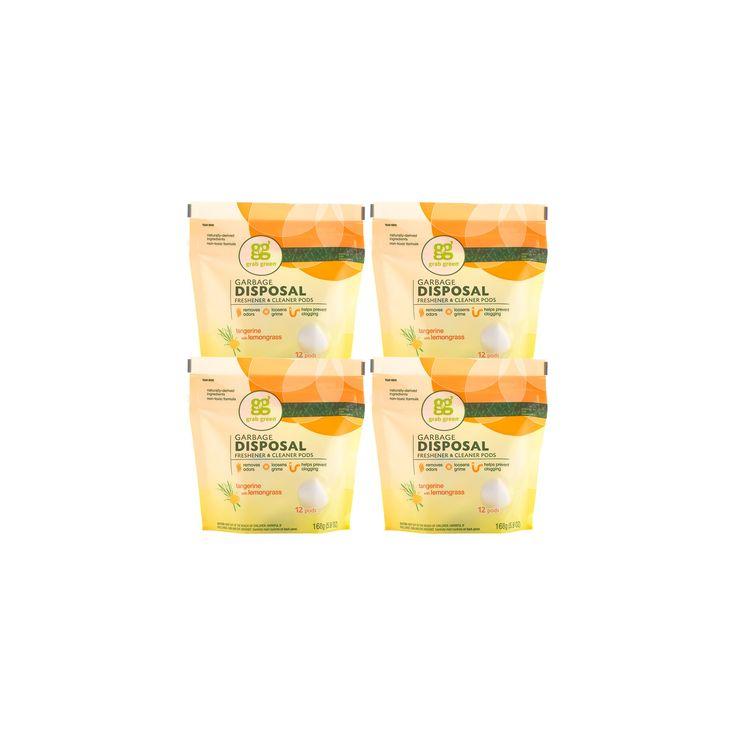 Grab Green Tangerine with Lemongrass Garbage Disposal Freshener & Cleaner, 4 pack, 48 pods