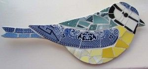 Smashing china mosaics - my favourite artist at the SAT this year. Garden birds from broken china!