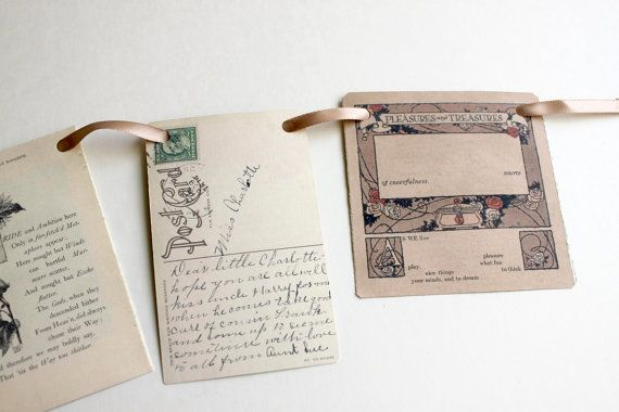 Vintage inspired paper garland  Ephemera by archivioGotico on Etsy, €6.00