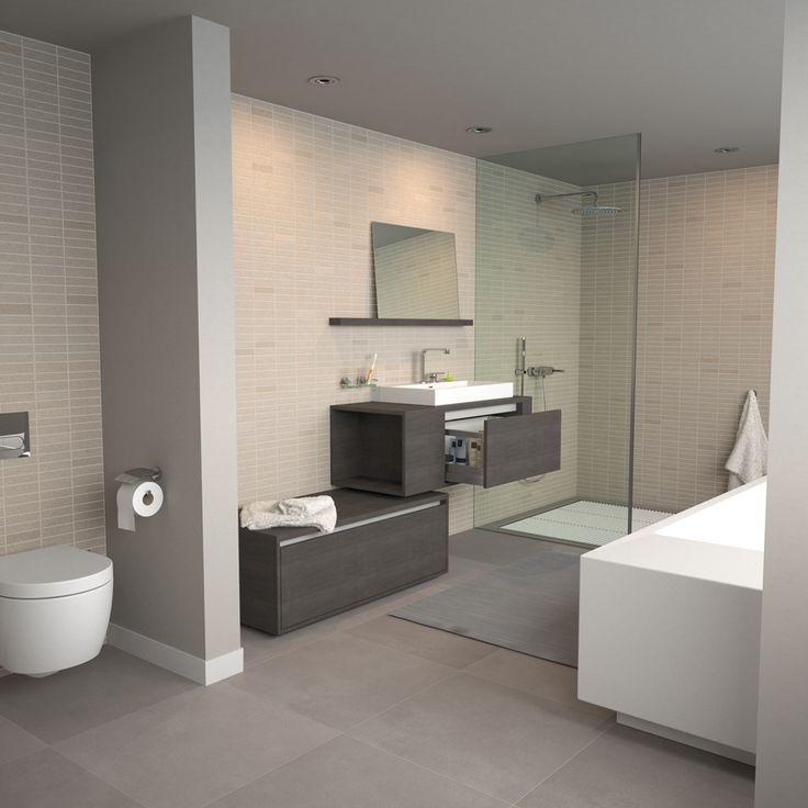 Clou - Wash Me badkamer concept. Badkamer vloertegels zijn licht grijs. Vrijstaand bad met badmengkraan en spiegel in planchet.