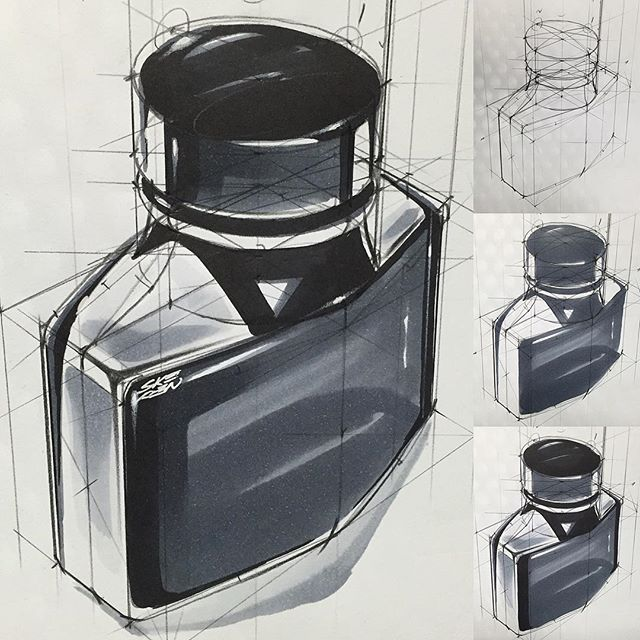 Ink Bottle Sketch & Design www.skeren.co.kr #ideasketch #bottle #sketch #marker #rendering #제품스케치 #아이디어스케치 #productsketch #productideasketch