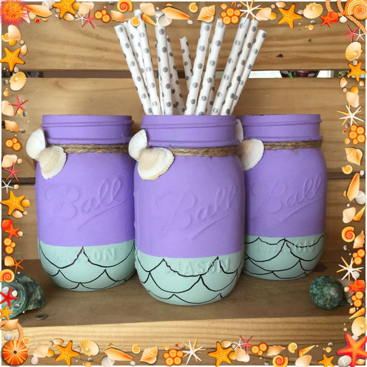 Painted Mason Jars. Party Decor. Beach Decor. Vases. Mermaid. Home Decor. by WineCountryAccents on Etsy