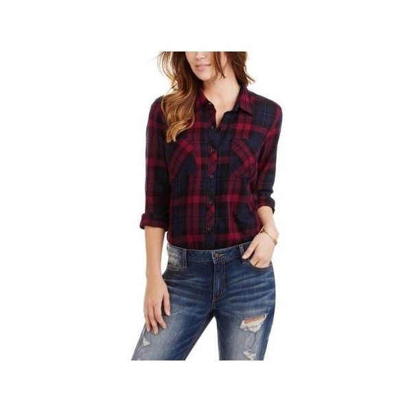 Faded Glory Women's Plaid Button Front Two-Pocket Shirt via Polyvore featuring tops, pocket shirts, purple plaid shirt, pocket tops, purple top and shirt top