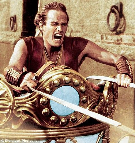 Charlton Heston in the chariot race in Ben Hur (1959) - I think I've seen this movie a hundred times.