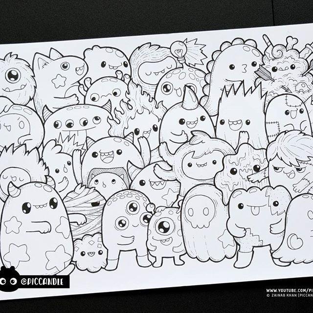 Inktober day 10 monsters inktober2016 doodle coloring for Doodle art monster