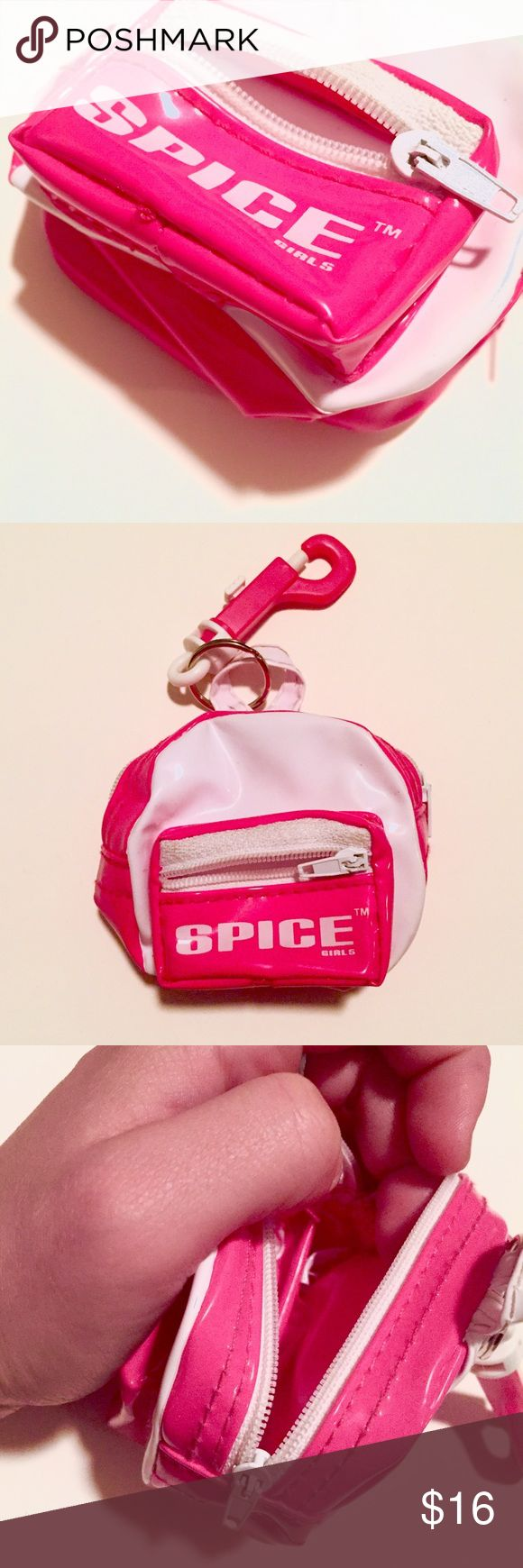 Teeny Weenie SPICE GIRLS Backpack Coin Purse 😍 😂😂Can this get any more 90s ? This adorable little plastic mini backpack/ coin purse/ keychain is hot pink & the Spice Girls logo is printed on the front pocket. Serious adorable retro accessory to clip on your bag or keyring. 🌺 Girly • 90sstyle • 90sgirl • SpiceGirls • 90skids • Old school • Teen dreams Accessories
