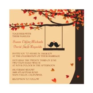 Love Birds Falling Hearts Oak Tree Wedding Invite Created By Invitationblvd