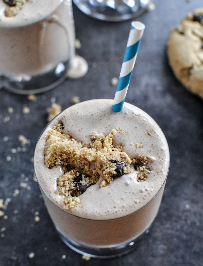 Bailey's Chocolate Chip Cookie Milkshake | 2 1/2 cups coffee ice cream  1 1/2 cups milk  1/2 cup irish cream liqueur  2 large chocolate chip cookies + 1 more to crumble on top  6 ice cubes