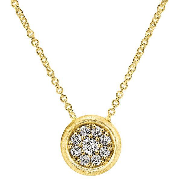 "Gabriel 14k Yellow Gold ""Nature"" 0.23 Carat Diamond Pave Satin Finish Pendant"