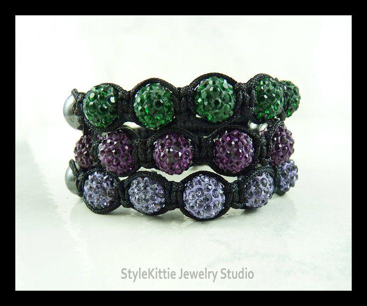 Green, Lavender and Purple Czech Crystal Pave Hematite Shamballa Bracelets, Set of Three, Black Nylon Cord, Macrame, Stackable, Disco Balls by StyleKittieJewelry on Etsy