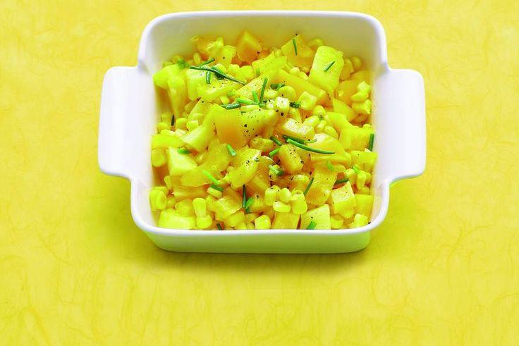 Kijk wat een lekker recept ik heb gevonden op Allerhande! Zoetzure mais met paprika en ananas