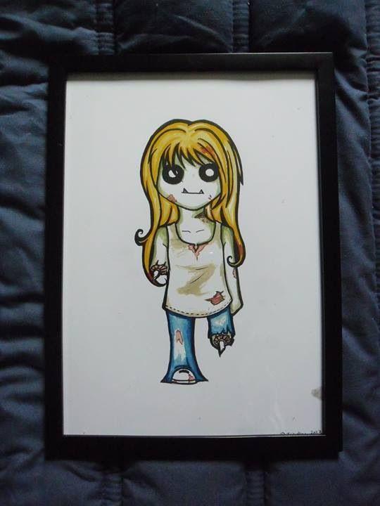 Zombie girl print in frame
