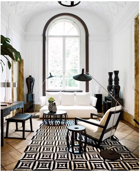 Contemporary with bold black and white graphic rug