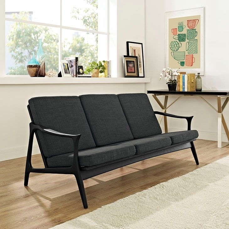 - Pace Upholstered Sofa in Black Gray