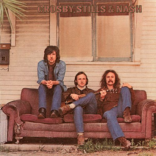 """Crosby, Stills & Nash is the first album by Crosby, Stills & Nash, 1969, Atlantic Records. It spawned two Top 40 hits, """"Marrakesh Express"""" and """"Suite: Judy Blue Eyes. Not only blending voices, the three meshed their differing strengths, Crosby for social commentary and atmospheric mood pieces, Stills for his diverse musical skills and for folding folk and country elements subtly into complex rock structures, and Nash for his radio-friendly pop melodies, to create an amalgam of broad appeal."""