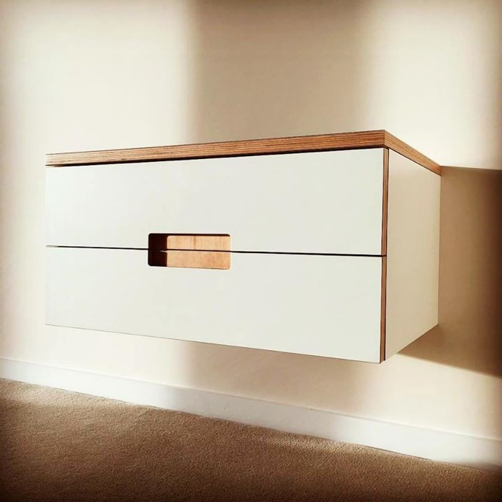 Floating bedside cabinetry with smooth clean lines designed by Constructive and co with Formica materials: http://ift.tt/2ozccvo