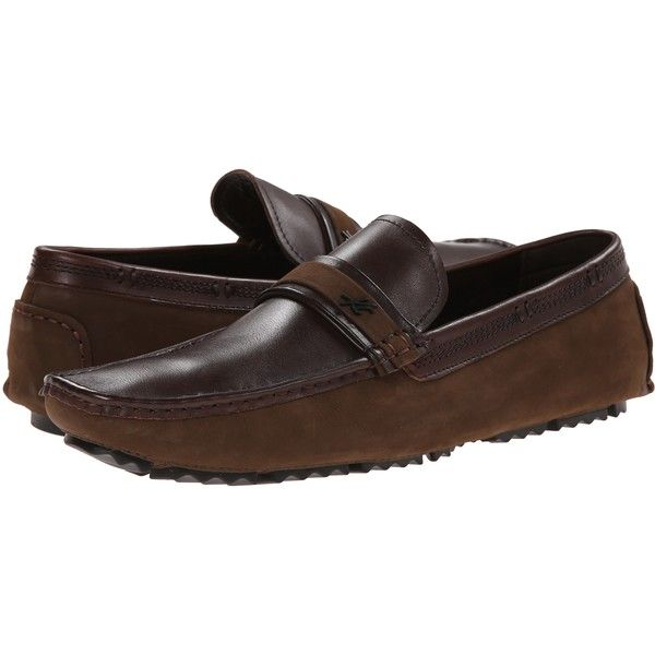Kenneth Cole New York Reign Or Shine (Dark Brown) Men's Slip on  Shoes ($65) ❤ liked on Polyvore featuring men's fashion, men's shoes, men's dress shoes, brown, dark brown mens dress shoes, mens shoes, mens brown shoes, mens slip on loafers and mens loafers