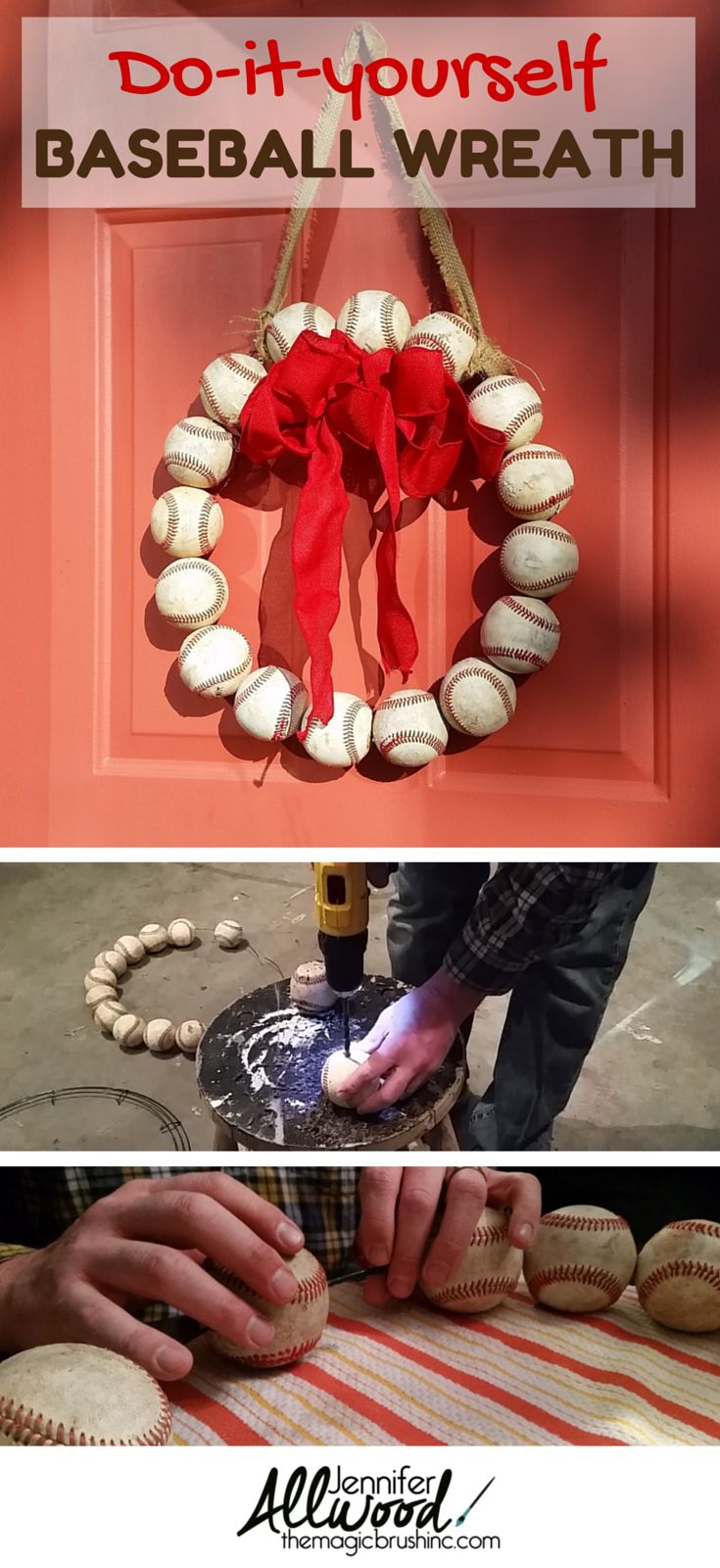 How to make a Baseball Wreath for your front door! Decorating idea from theMagicBrushinc.com